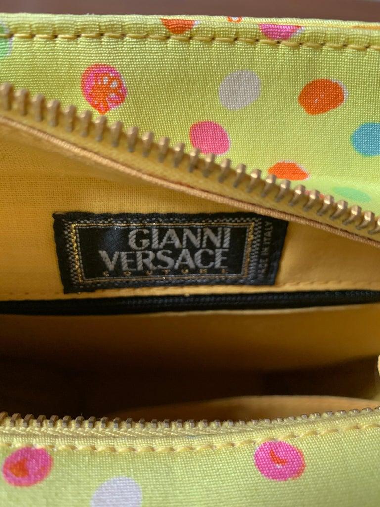 1990s Gianni Versace Couture Yellow Spray Paint Polka Dot Medusa Handbag Purse For Sale 4