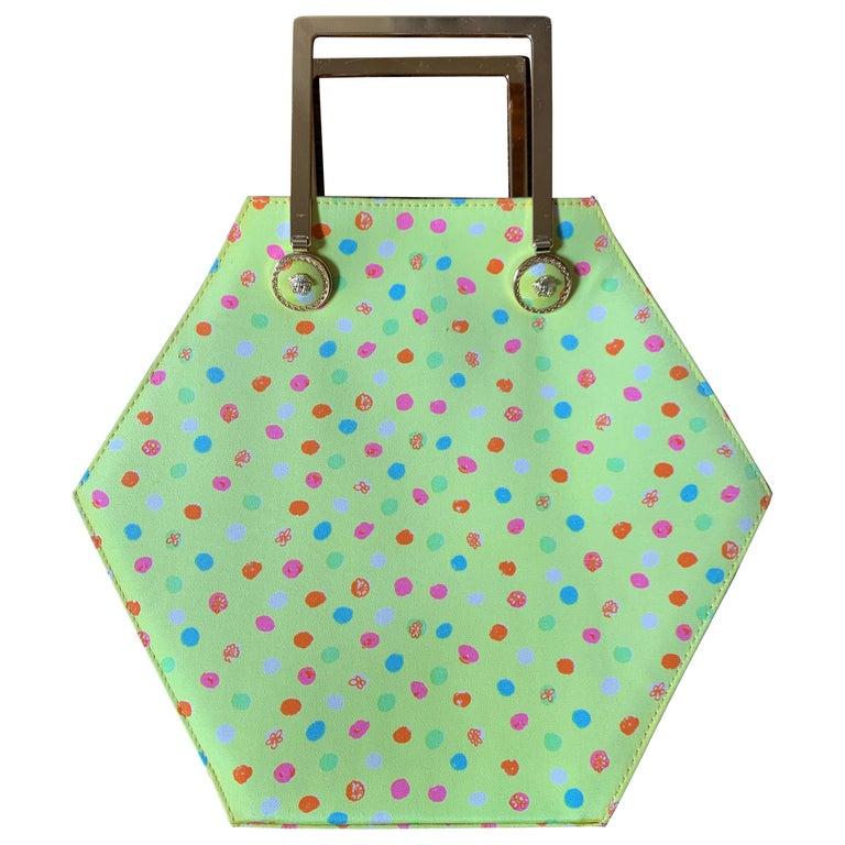 1990s Gianni Versace Couture Yellow Spray Paint Polka Dot Medusa Handbag Purse For Sale