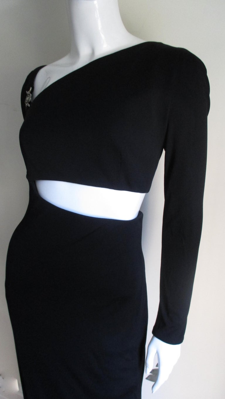 1990s Gianni Versace Cut Out Dress with Hardware In Good Condition For Sale In New York, NY