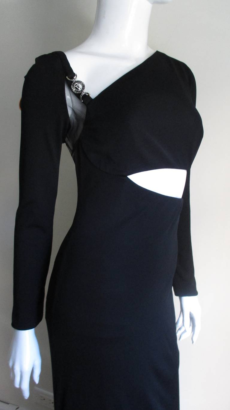 Women's 1990s Gianni Versace Cut Out Dress with Hardware For Sale