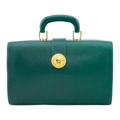 1990s Gianni Versace Dark Green Leather Travel Bag