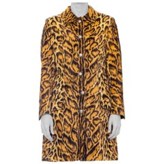 1990'S GIANNI VERSACE Leopard Print Faux Fur Velvety Coat