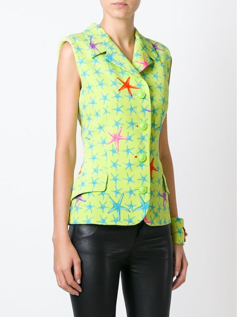 Green 1990s Gianni Versace Fancy Starfish Print Vest For Sale