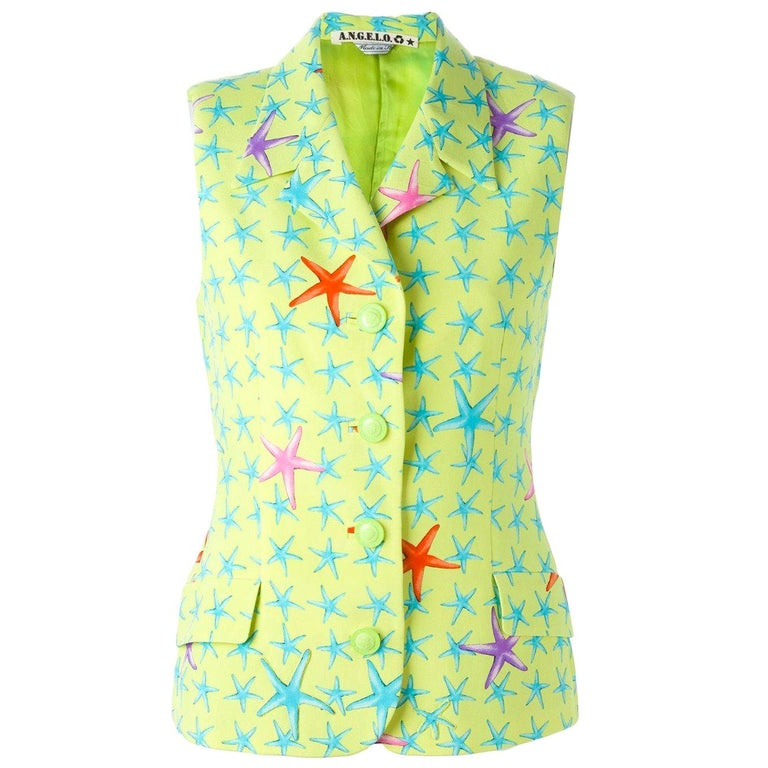 1990s Gianni Versace Fancy Starfish Print Vest For Sale