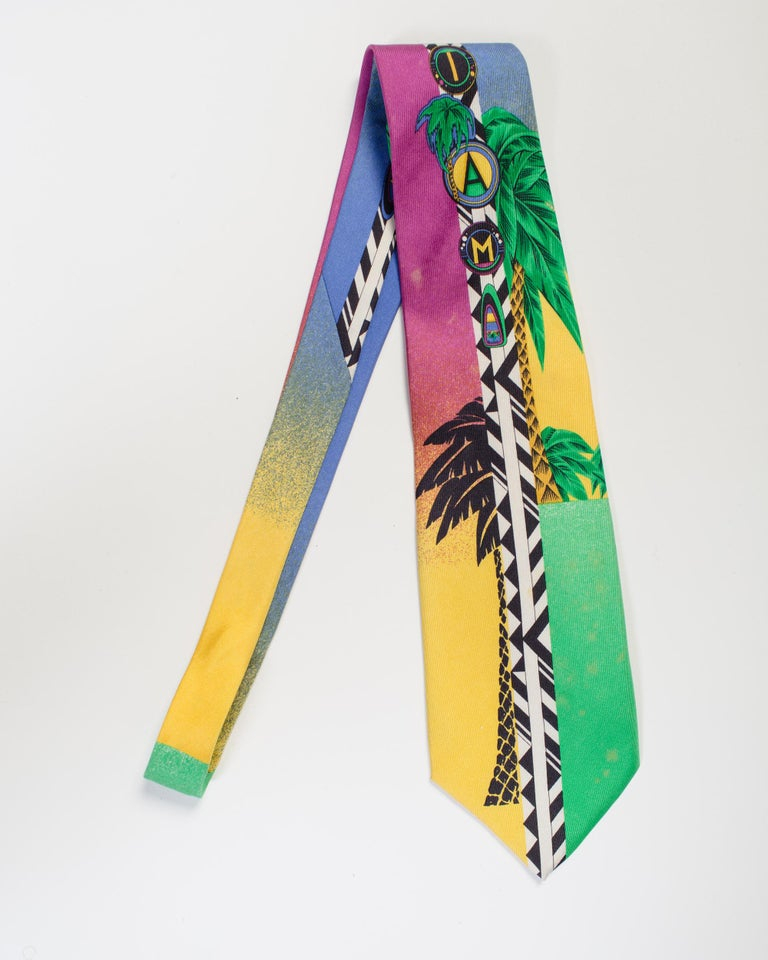 1990s Gianni Versace Geometric Miami Tie With Palms  For Sale 1