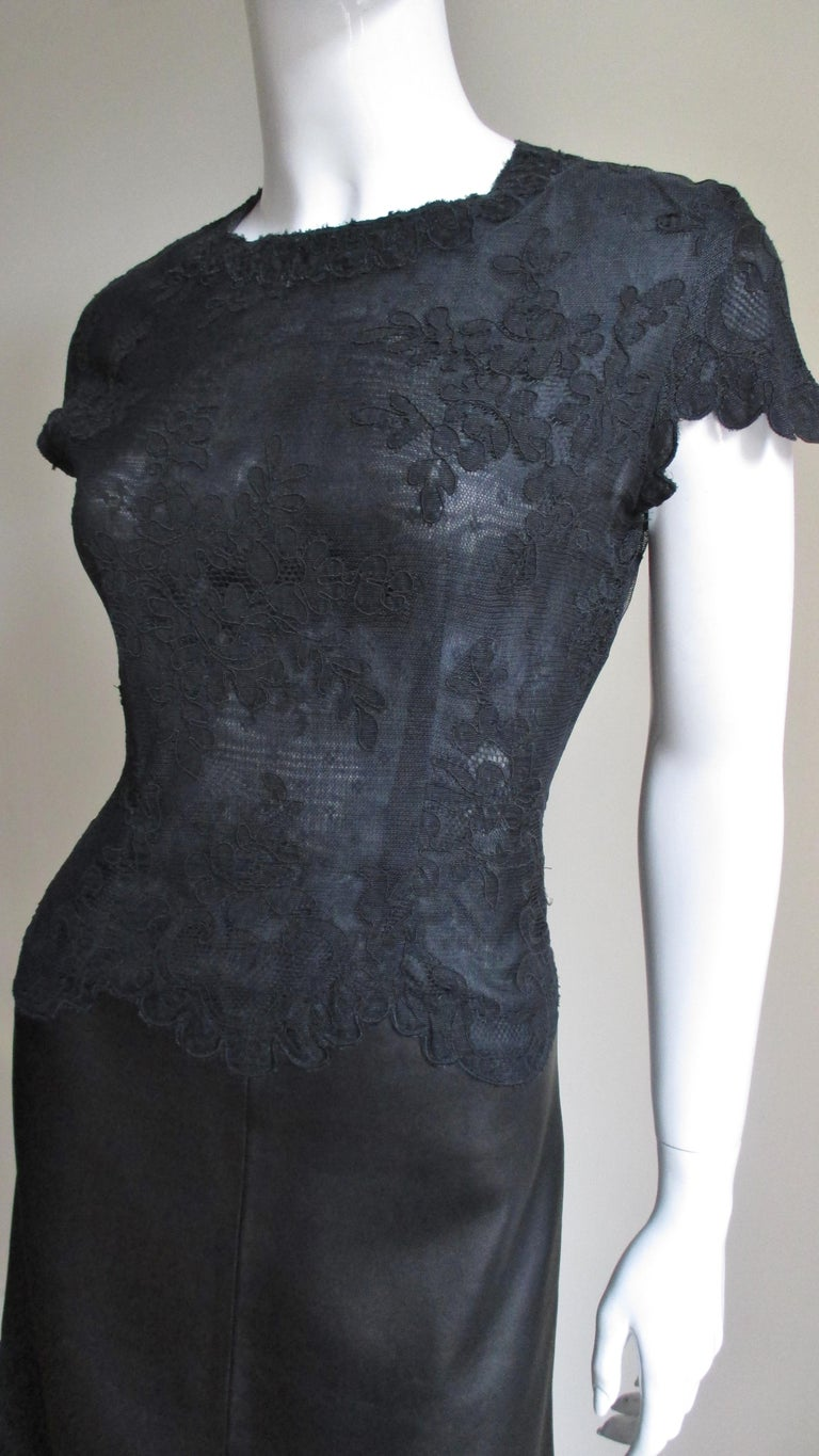 Gianni Versace Leather and Lace Dress In Excellent Condition For Sale In New York, NY