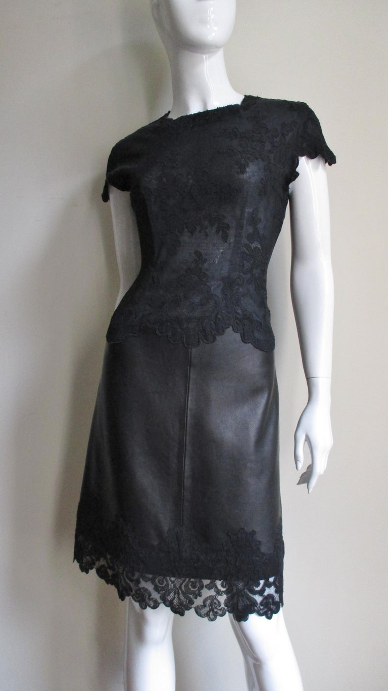 Black Gianni Versace Leather and Lace Dress For Sale