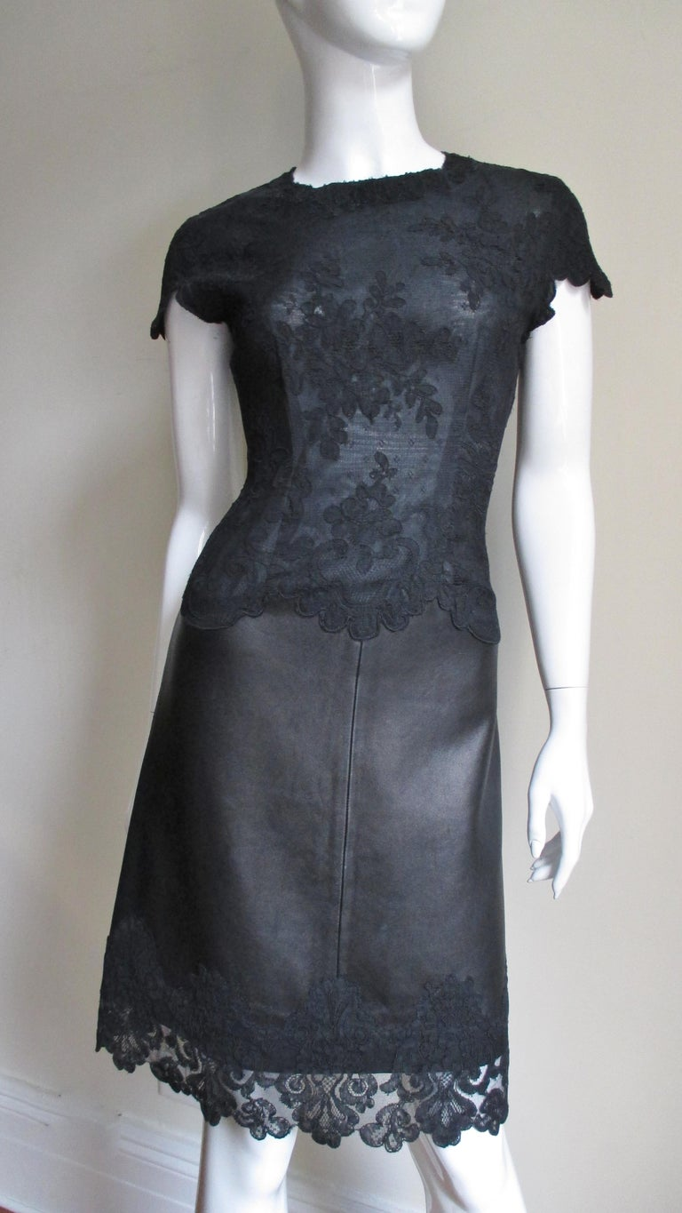 Gianni Versace Leather and Lace Dress For Sale 3