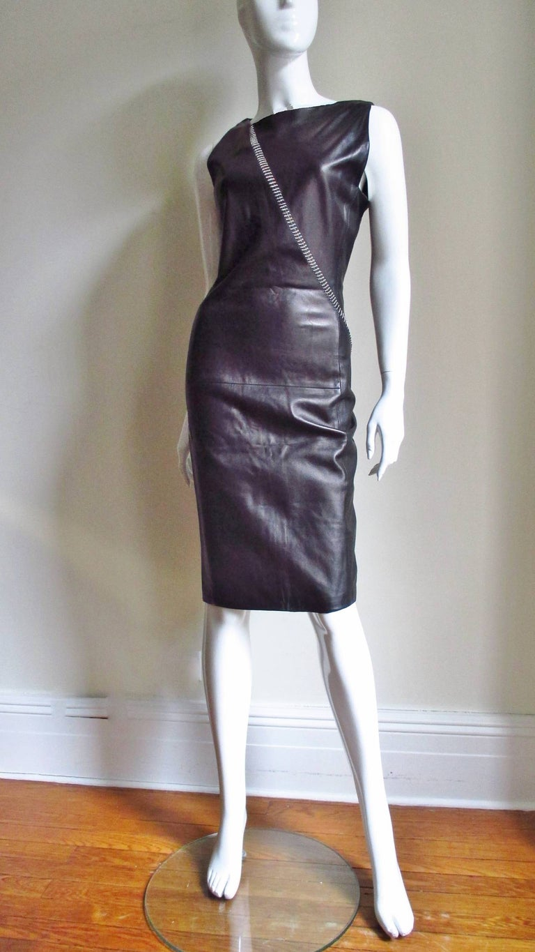 1990s Gianni Versace Leather Dress with Chains For Sale 5