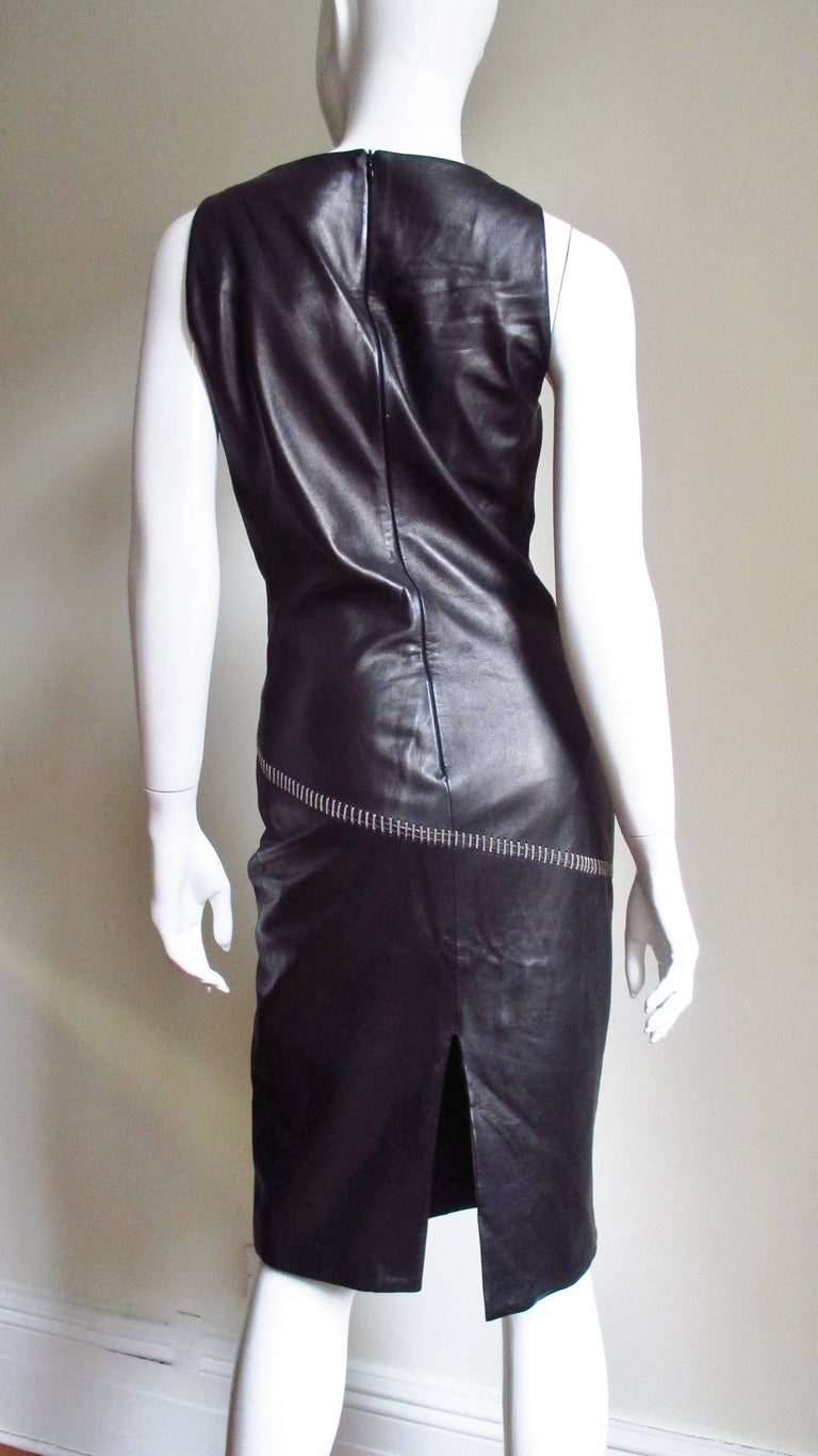 1990s Gianni Versace Leather Dress with Chains For Sale 6
