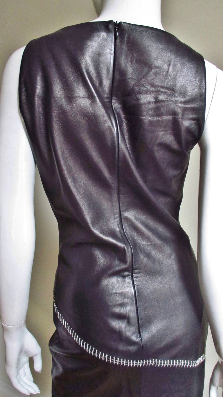 1990s Gianni Versace Leather Dress with Chains For Sale 7