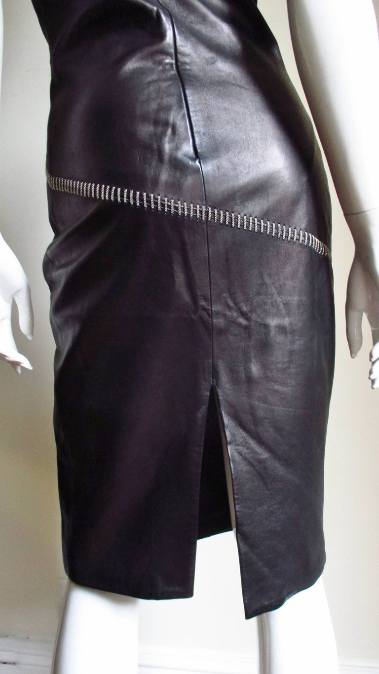 1990s Gianni Versace Leather Dress with Chains For Sale 8