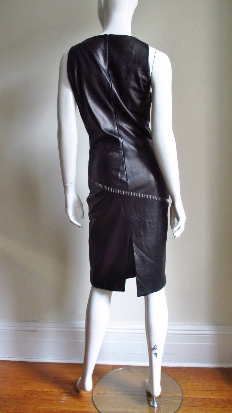 1990s Gianni Versace Leather Dress with Chains For Sale 9