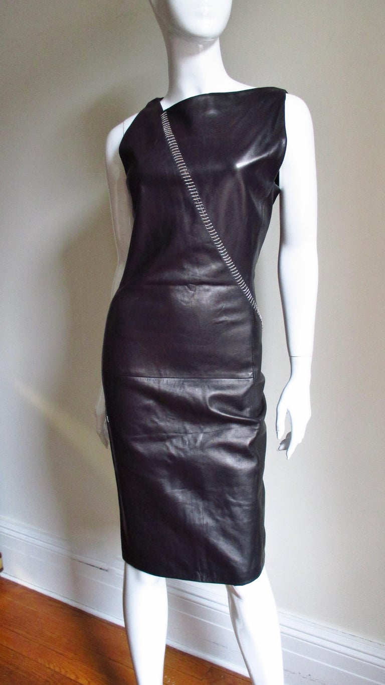 Black 1990s Gianni Versace Leather Dress with Chains For Sale