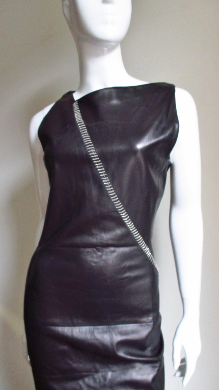 1990s Gianni Versace Leather Dress with Chains In Good Condition For Sale In New York, NY