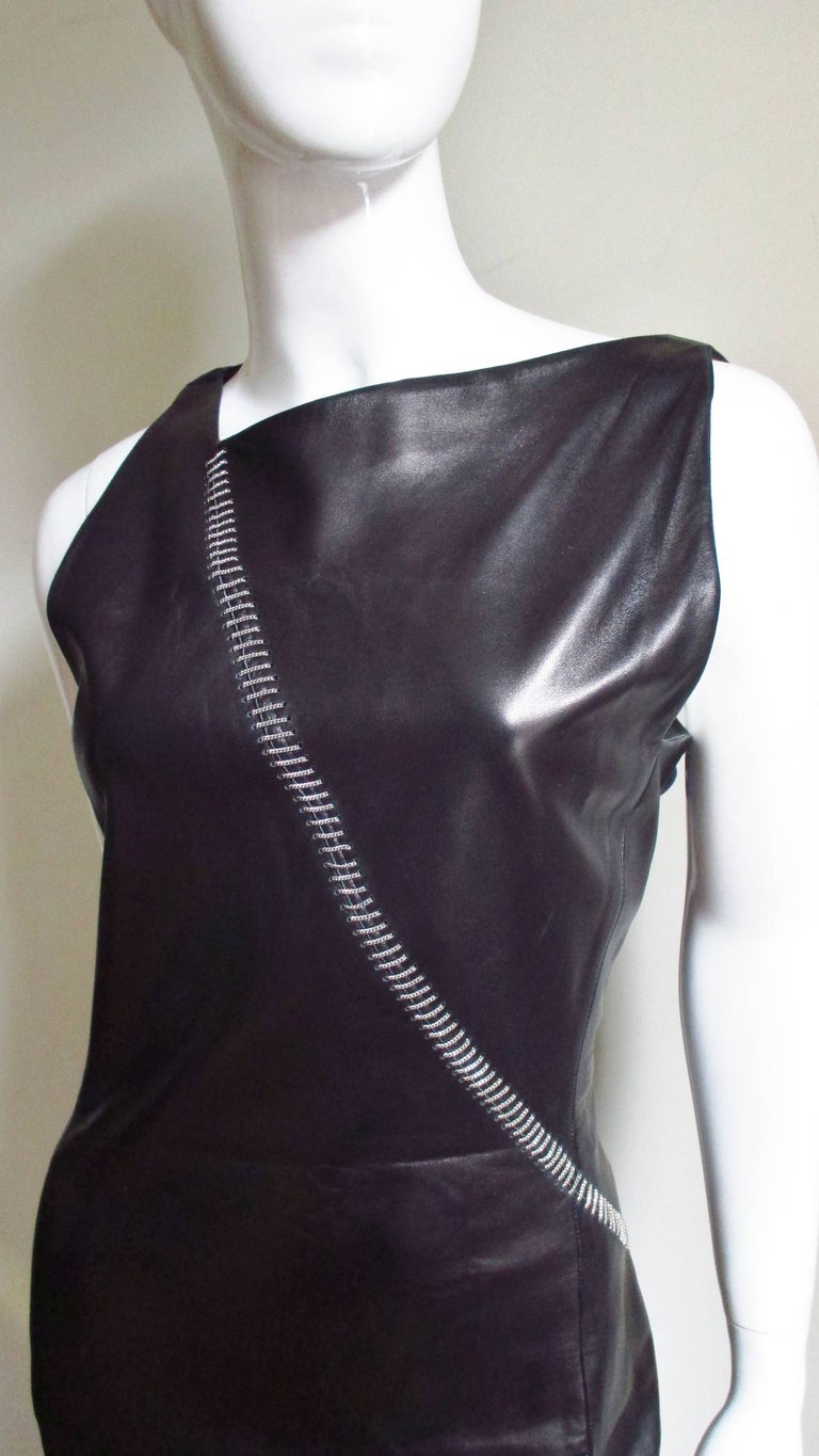 Women's 1990s Gianni Versace Leather Dress with Chains For Sale
