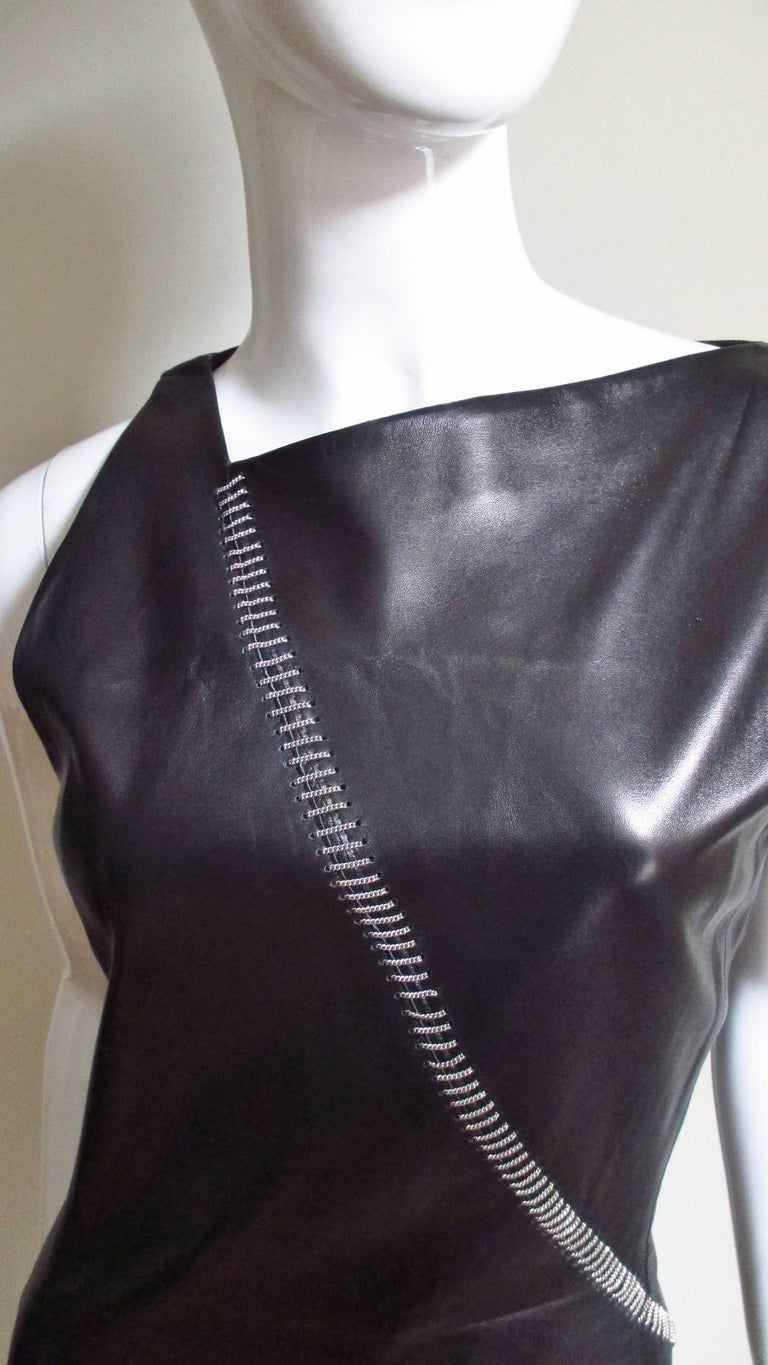 1990s Gianni Versace Leather Dress with Chains For Sale 1