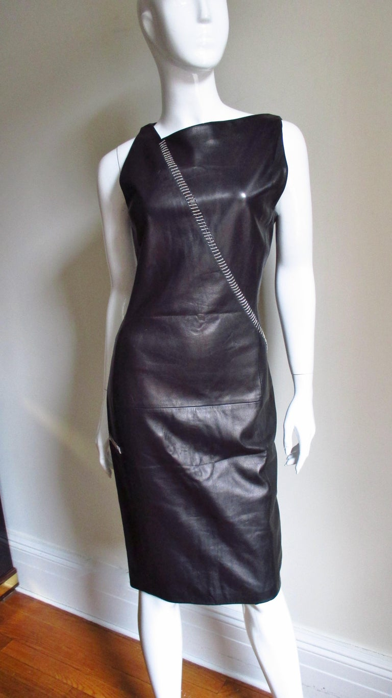 1990s Gianni Versace Leather Dress with Chains For Sale 3