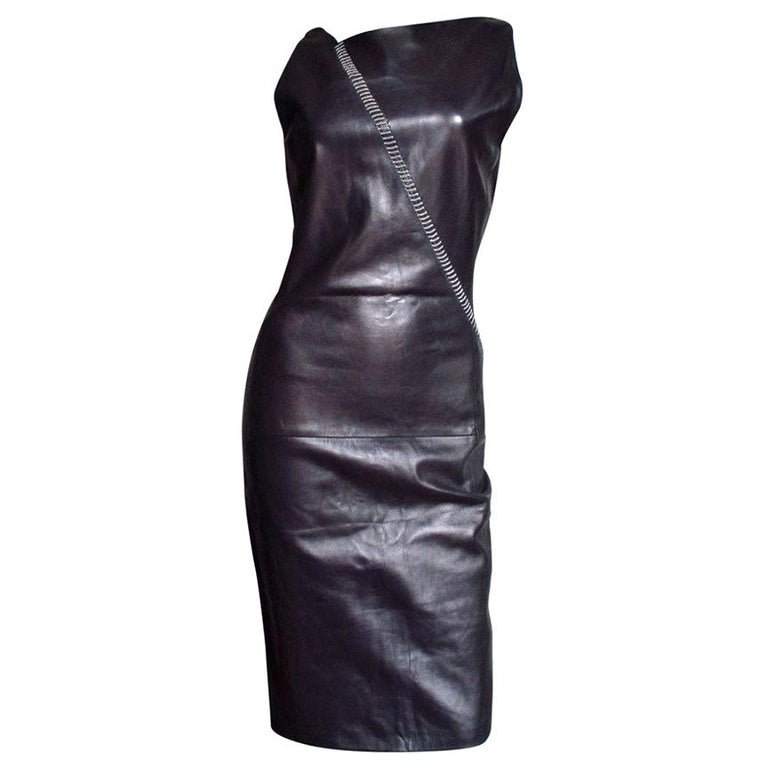 1990s Gianni Versace Leather Dress with Chains For Sale