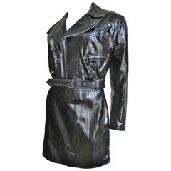 1990s Gianni Versace Leather Motorcycle Jacket and Skirt