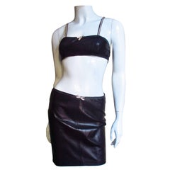 1990s Gianni Versace Leather Top and Skirt