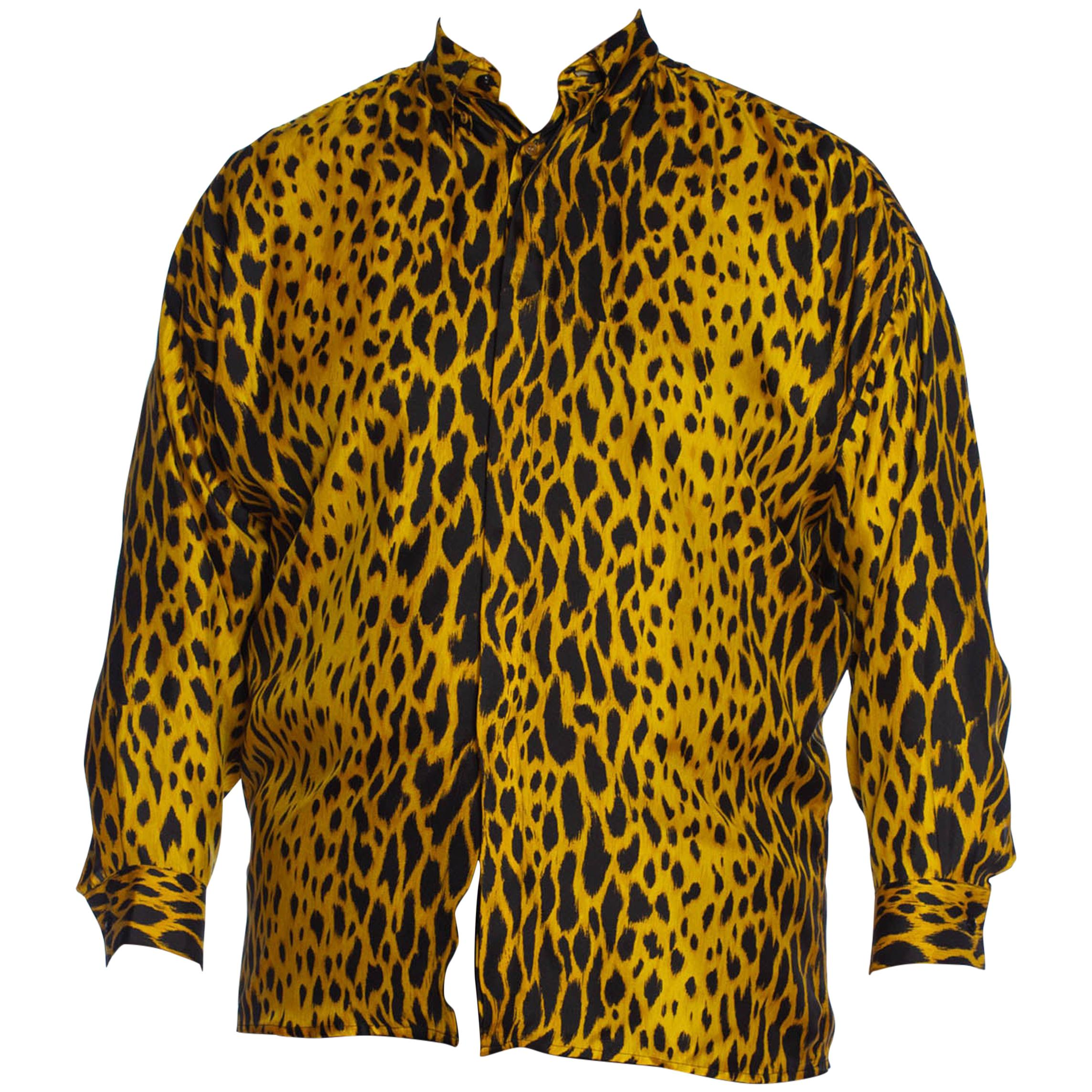 1990S GIANNI VERSACE Leopard Print Silk Twill Men's Shirt