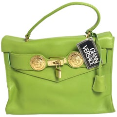 1990s Gianni Versace Lime Leather Kelly Bag
