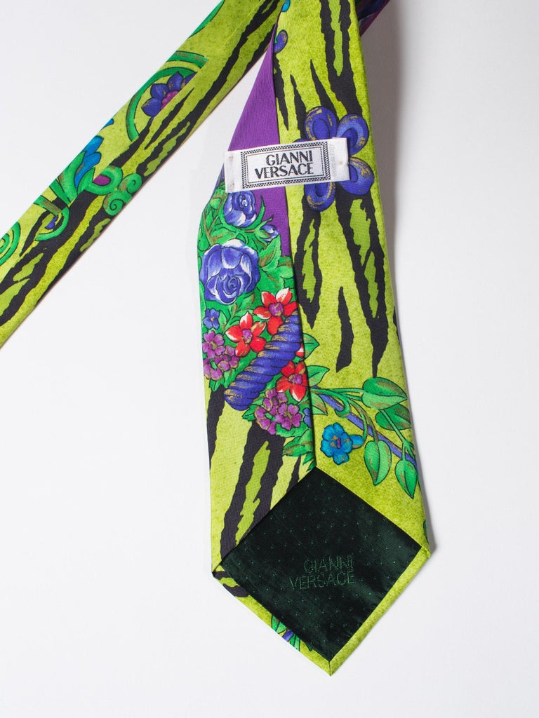 Green 1990s Gianni Versace Lime Zebra Tiger Mens Silk Tie For Sale