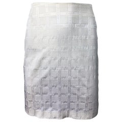1990s Gianni Versace Logo Print White High Waist Silky Vintage 90s Mini Skirt