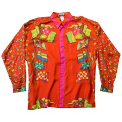 1990s Gianni Versace Miami Collection Red Flag Silk Shirt