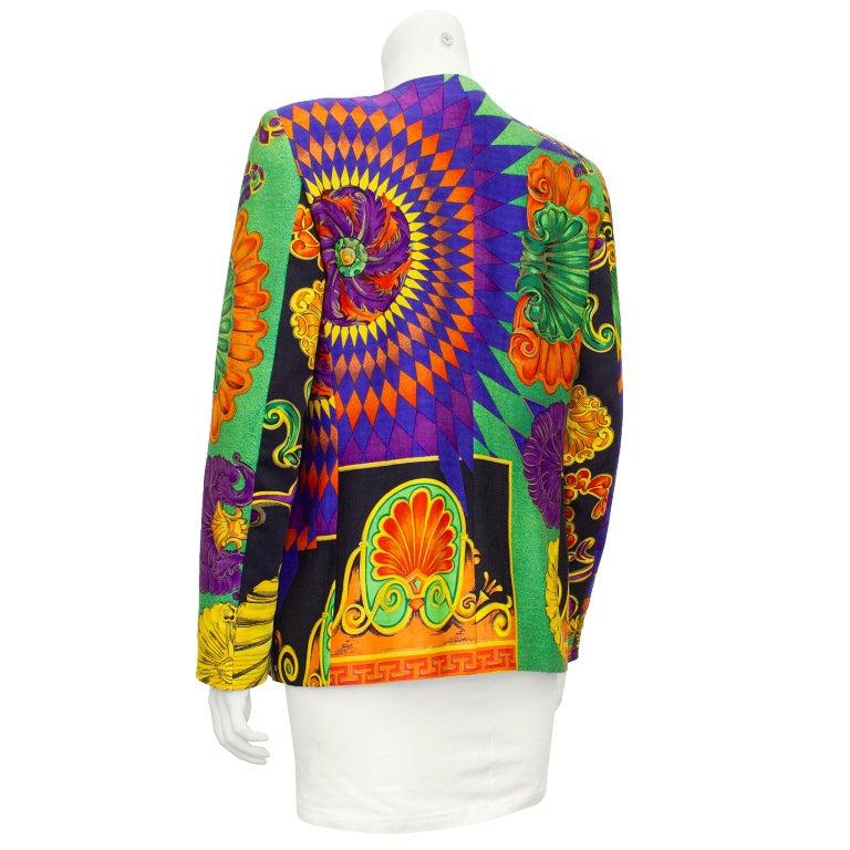 Black 1990s Gianni Versace Multi Colour Baroque Print Jacket  For Sale