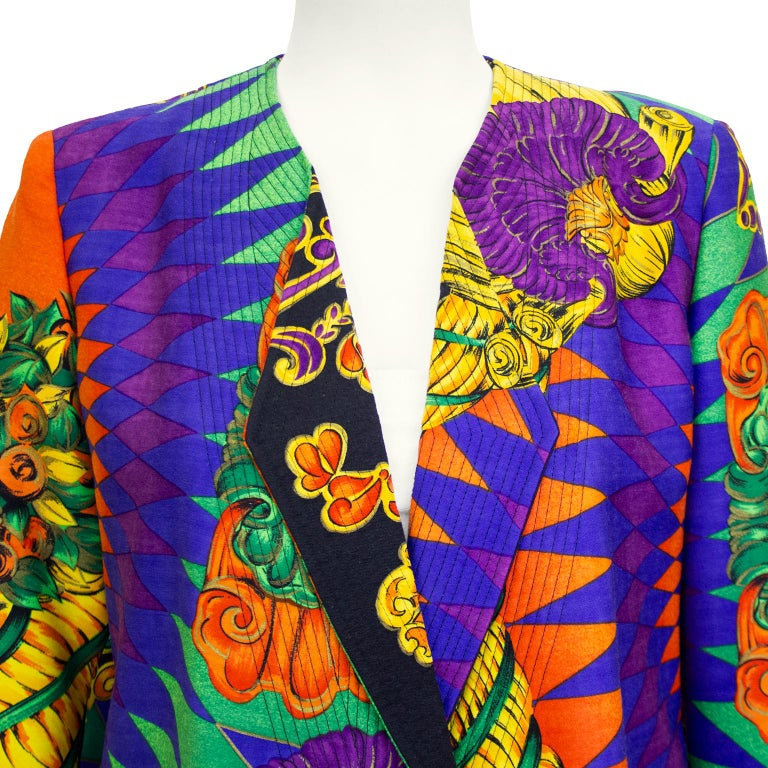 1990s Gianni Versace Multi Colour Baroque Print Jacket  In Good Condition For Sale In Toronto, Ontario