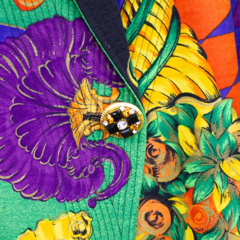 Women's or Men's 1990s Gianni Versace Multi Colour Baroque Print Jacket  For Sale