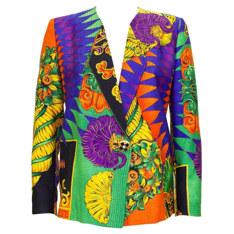 1990s Gianni Versace Multi Colour Baroque Print Jacket  For Sale