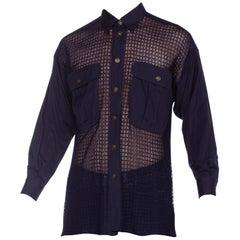 1990s Gianni Versace Navy Cotton & Mesh Shirt Size 44