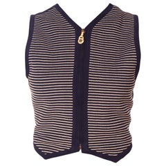 1990S GIANNI VERSACE Navy & White Rayon Knit Zipper Vest Top Trimmed Backed In