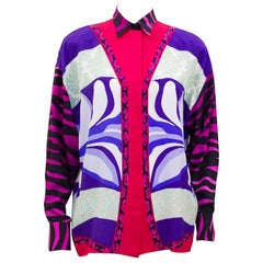 1990s Gianni Versace Pink and Purple Silk Shirt