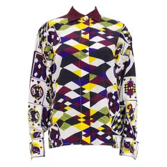 1990s Gianni Versace Playing Card Print Silk Shirt