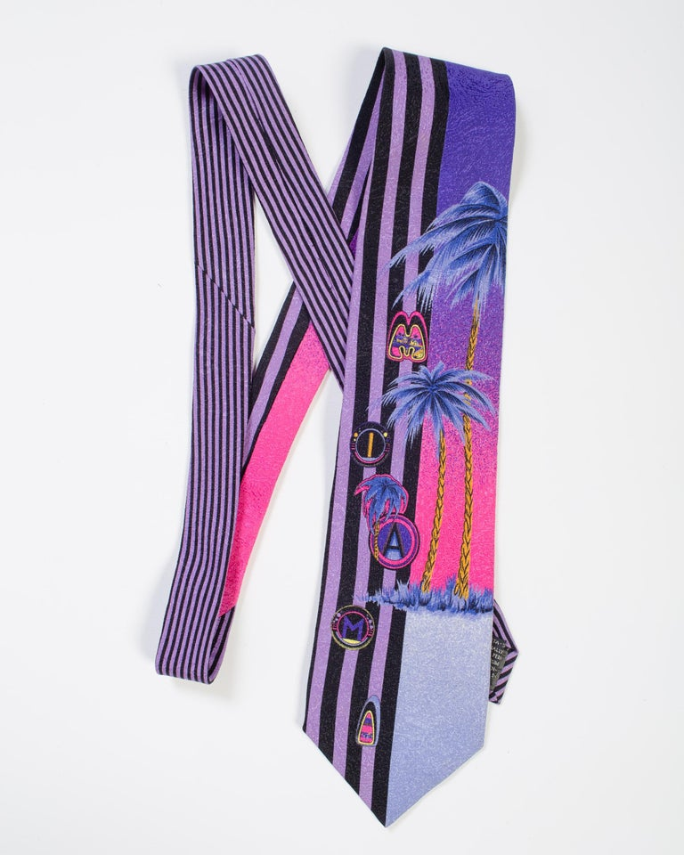 1990s Gianni Versace Purple Miami Tie With Palm Trees For Sale 1