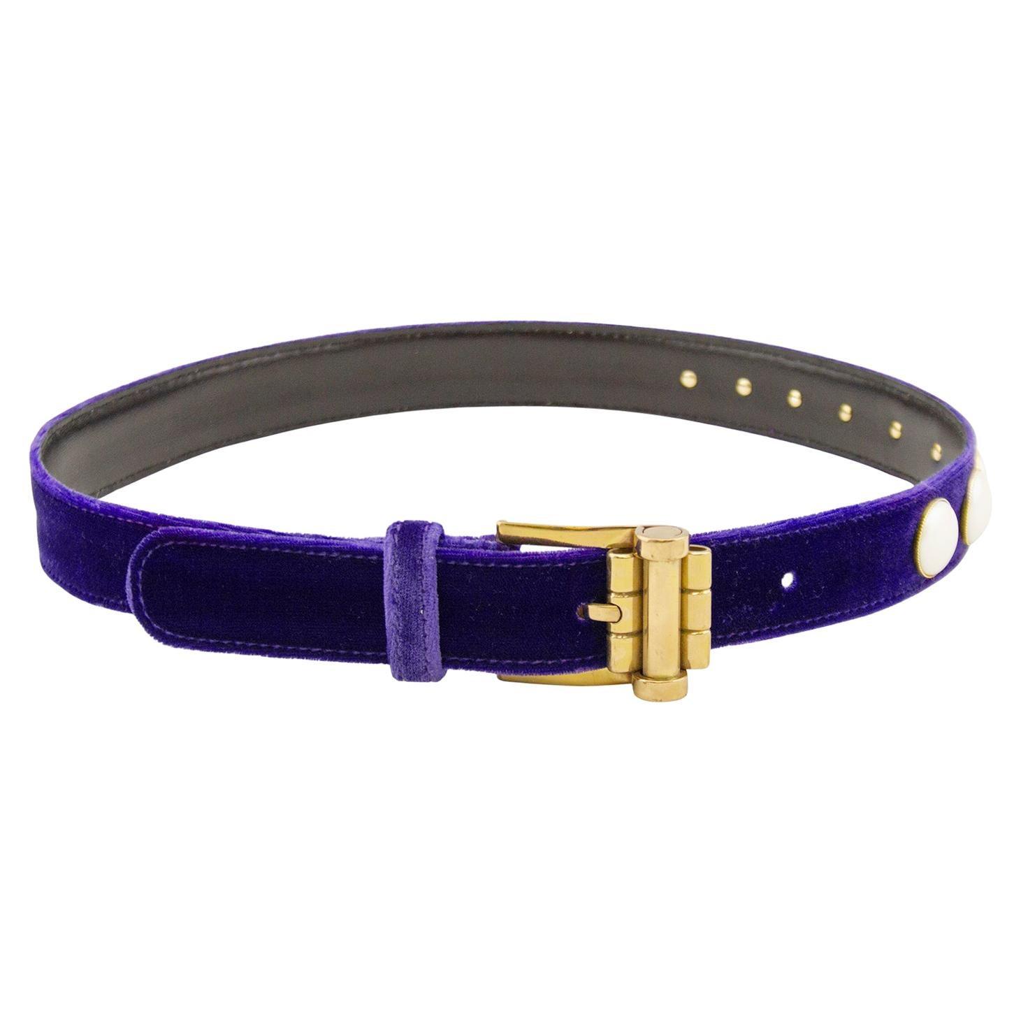 1990s Gianni Versace Purple Velvet and Pearl Belt