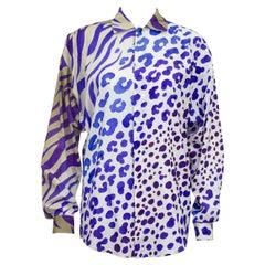 1990s Gianni Versace Purple Zebra and Leopard Print Shirt