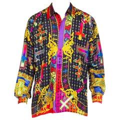 1990S GIANNI VERSACE Rainbow Silk Twill Men's Iconic Baroque Cross Print Shirt
