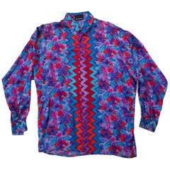 1990s Gianni Versace Red and Purple Zig Zag Silk Shirt