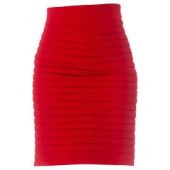 1990S GIANNI VERSACE Salmon Red Wool Crepe Skirt With Pleated Appliqué Detailing