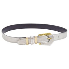 1990s Gianni Versace Silver Leather and Gold Belt