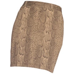 1990s Gianni Versace Stretchy Snake Printed Mini Skirt