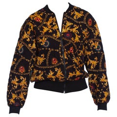 1990S GIANNI VERSACE Style Cotton Blend Quilted Bomber Jacket