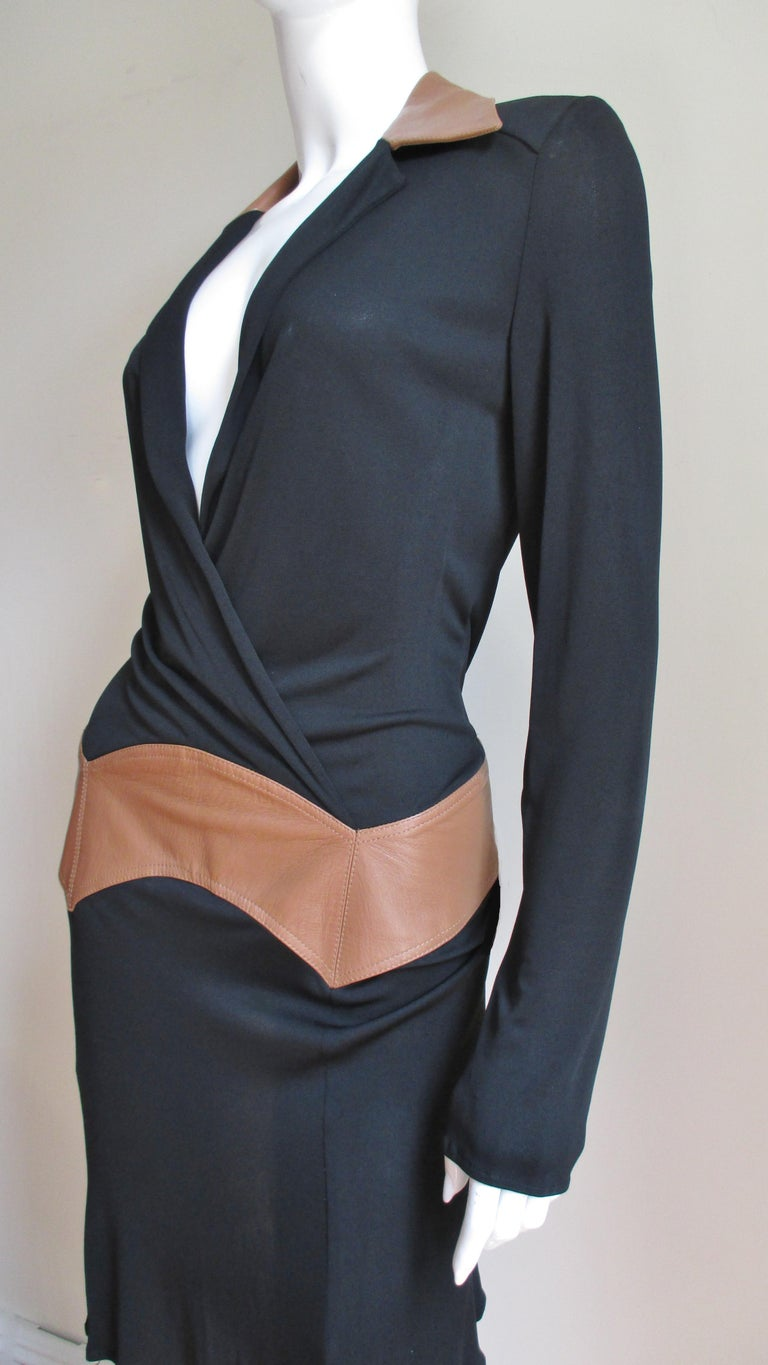Black  Gianni Versace Couture Dress with Leather Trim 1990s For Sale
