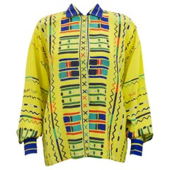 1990s Gianni Versace Yellow Silk Blouse with Geometric Details
