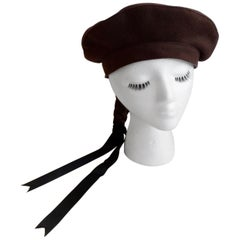 1990s Gilles Francois Braided Ponytail Brown Felt Beret